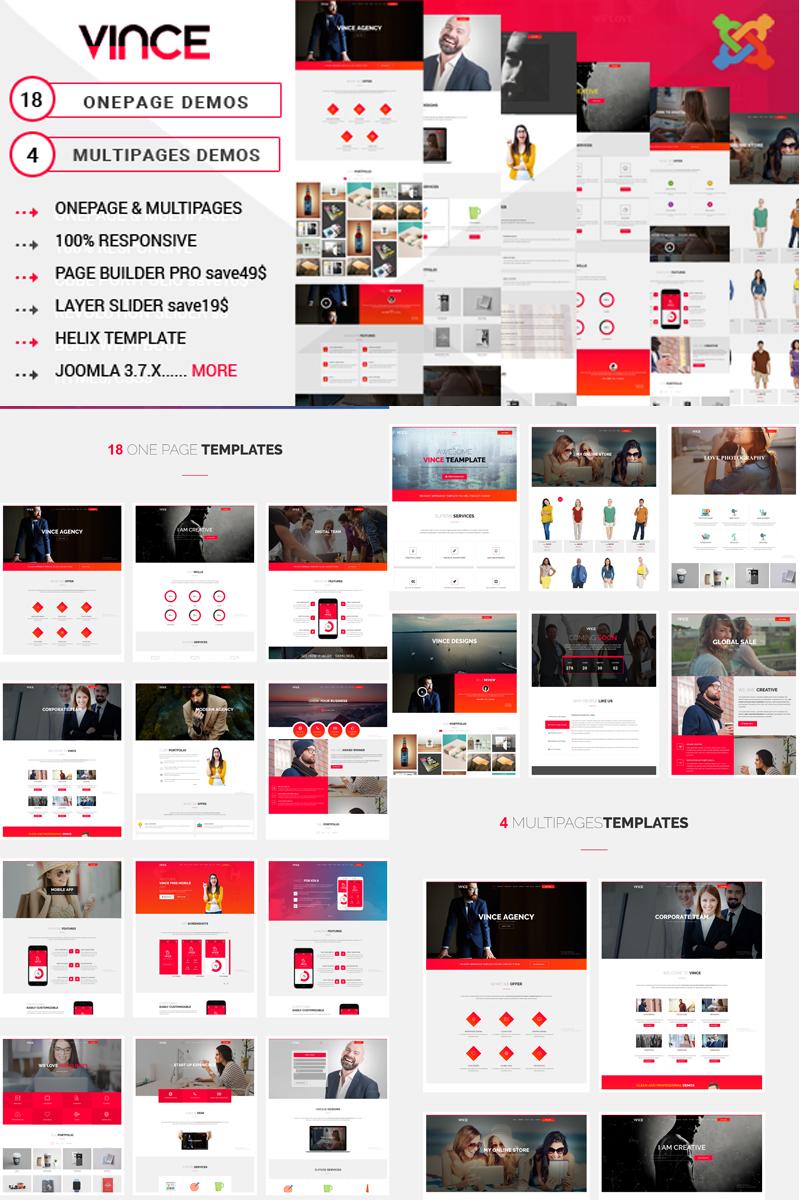 Vince - One Page & Multi Page Joomla Template - screenshot