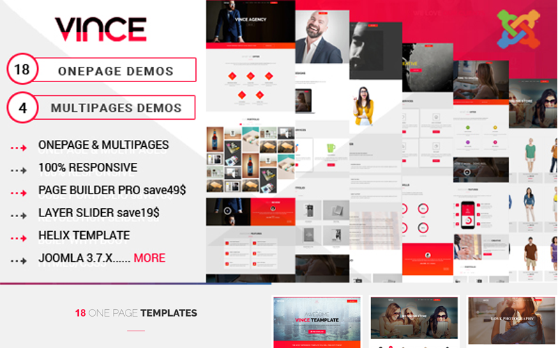 Vince - One Page & Multi Page Joomla Template