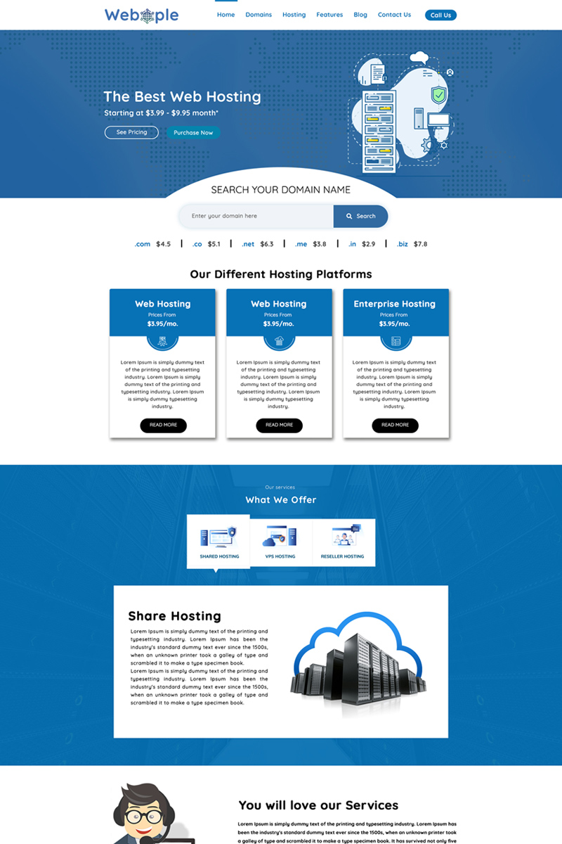 Webople - Domain & Hosting Psd #78785