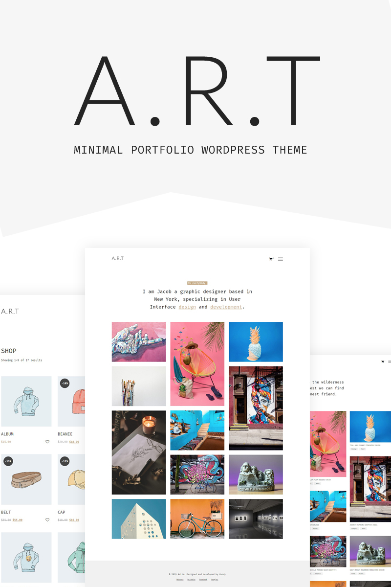 """Artis - Minimal Portfolio & Shop"" BootstrapWordPress模板 #78864"