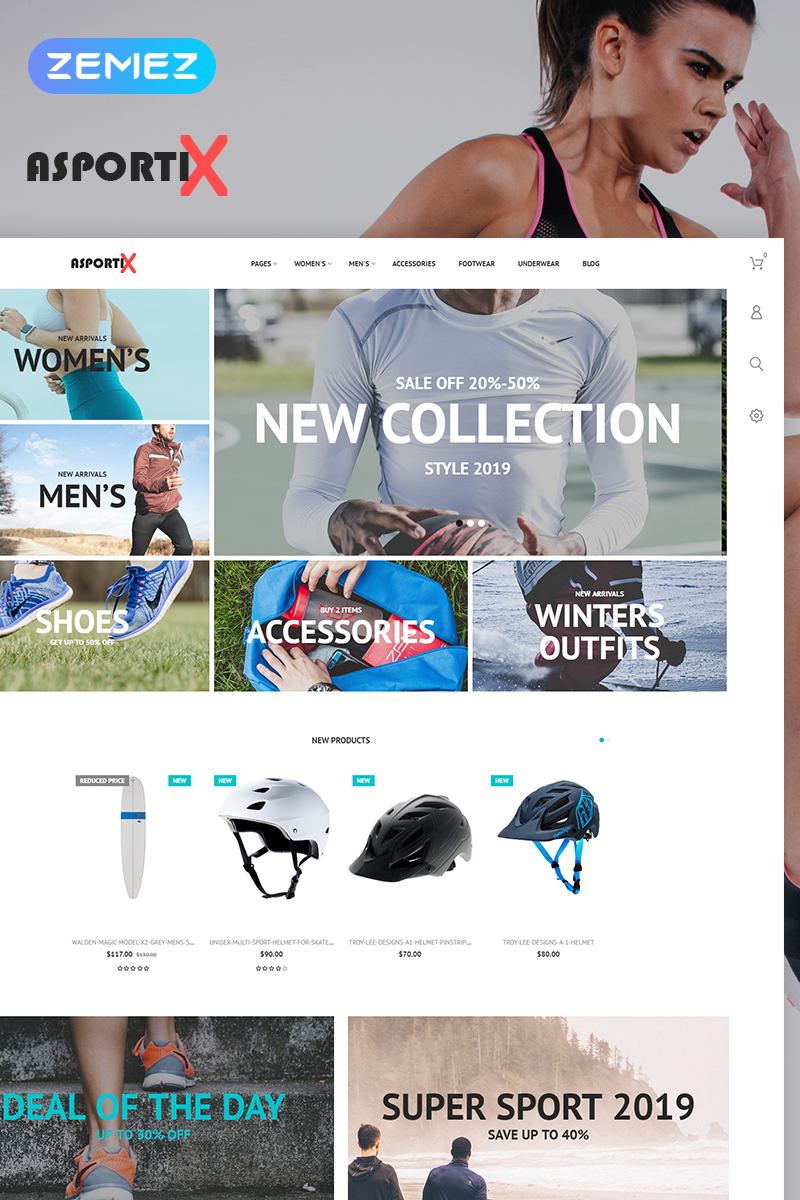 """""""Asportix - Sport Equipment Store Clean Bootstrap Ecommerce"""" thème PrestaShop adaptatif #78836"""