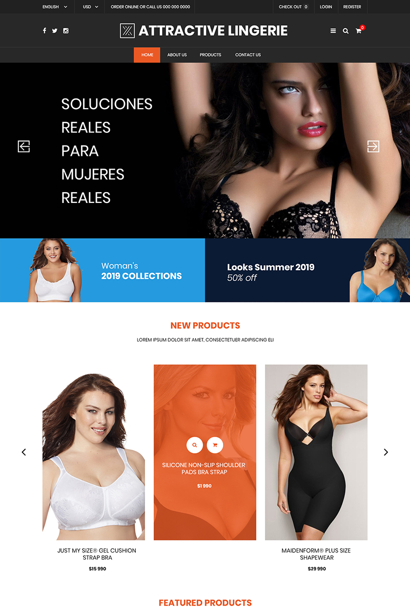 Attractive Lingerie Store PSD Template