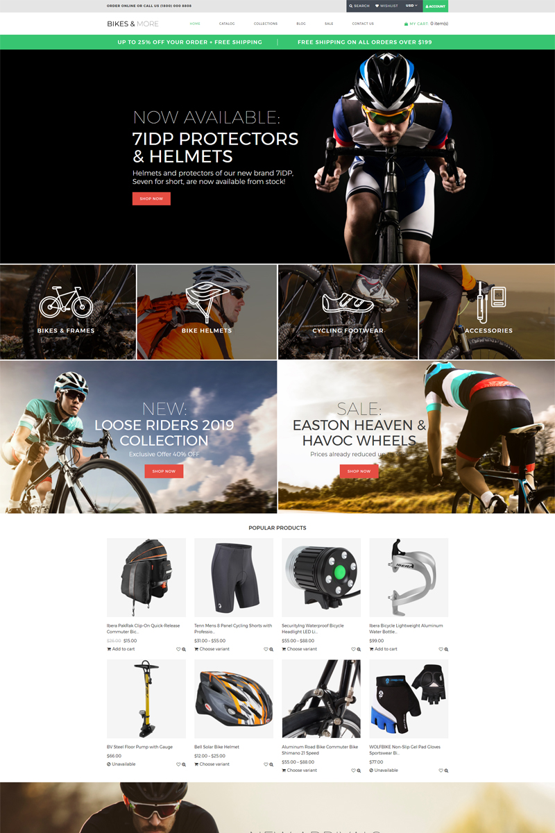 """Bikes & More - Bike Shop Modern"" - адаптивний Shopify шаблон №78837"