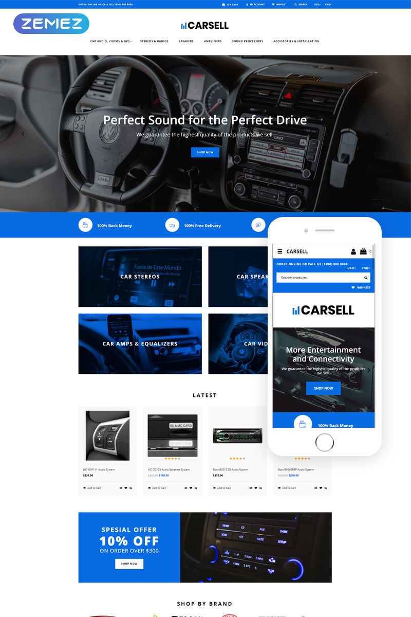 """""""Carsell - Car Audio Multipage Clean"""" Responsive OpenCart Template №78832"""