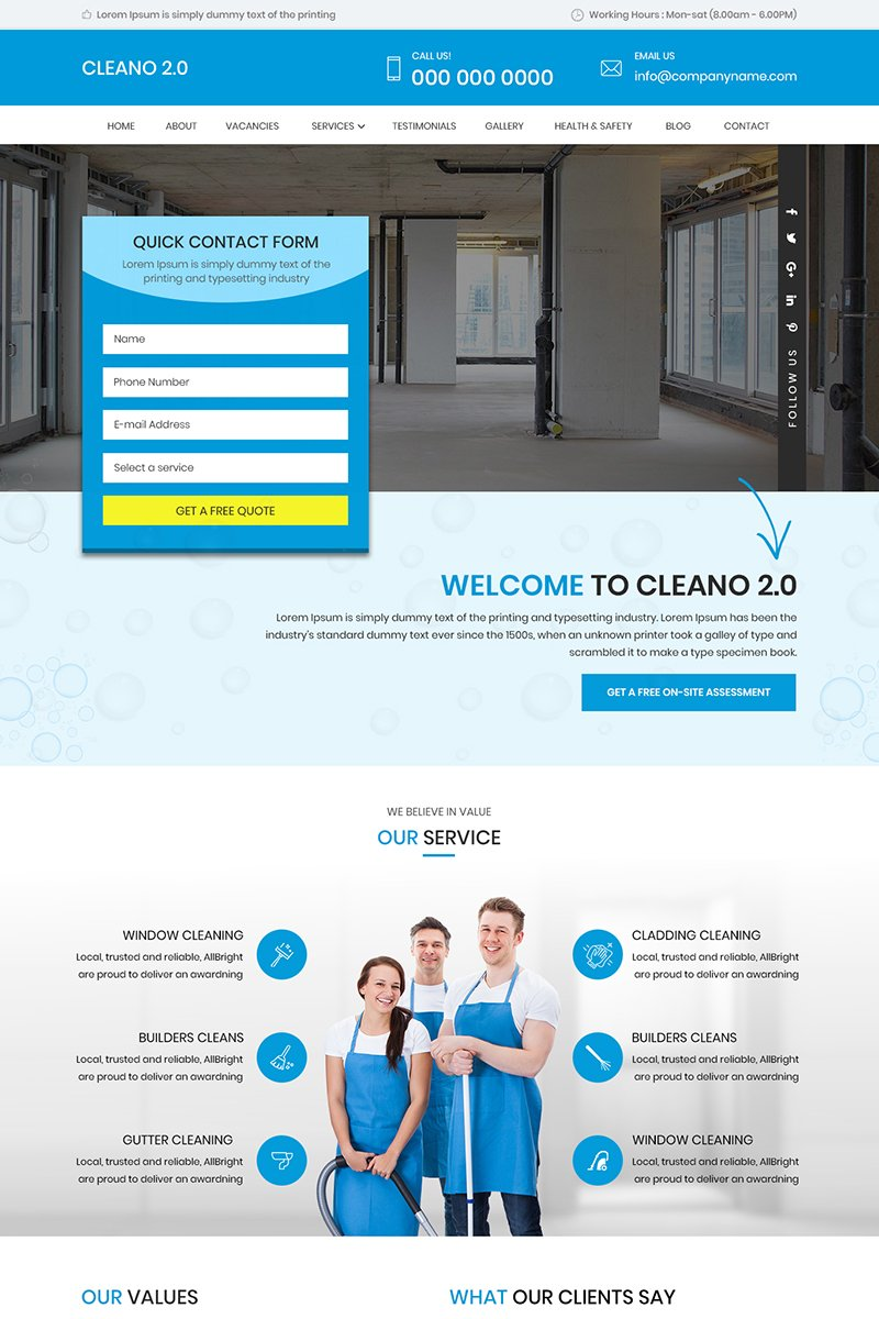 Cleano 2.0 - Multipurpose Cleaning PSD Template
