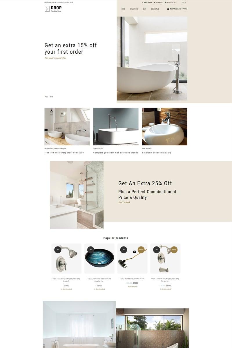 Drop Plumbing Store - Plumbing Multipage E-Commerce Clean Tema de Shopify №78880
