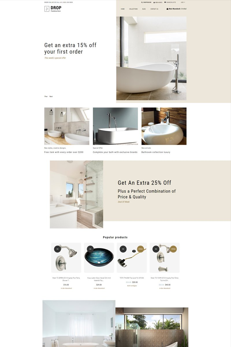 """""""Drop Plumbing Store - Plumbing Multipage E-Commerce Clean"""" 响应式Shopify模板 #78880"""