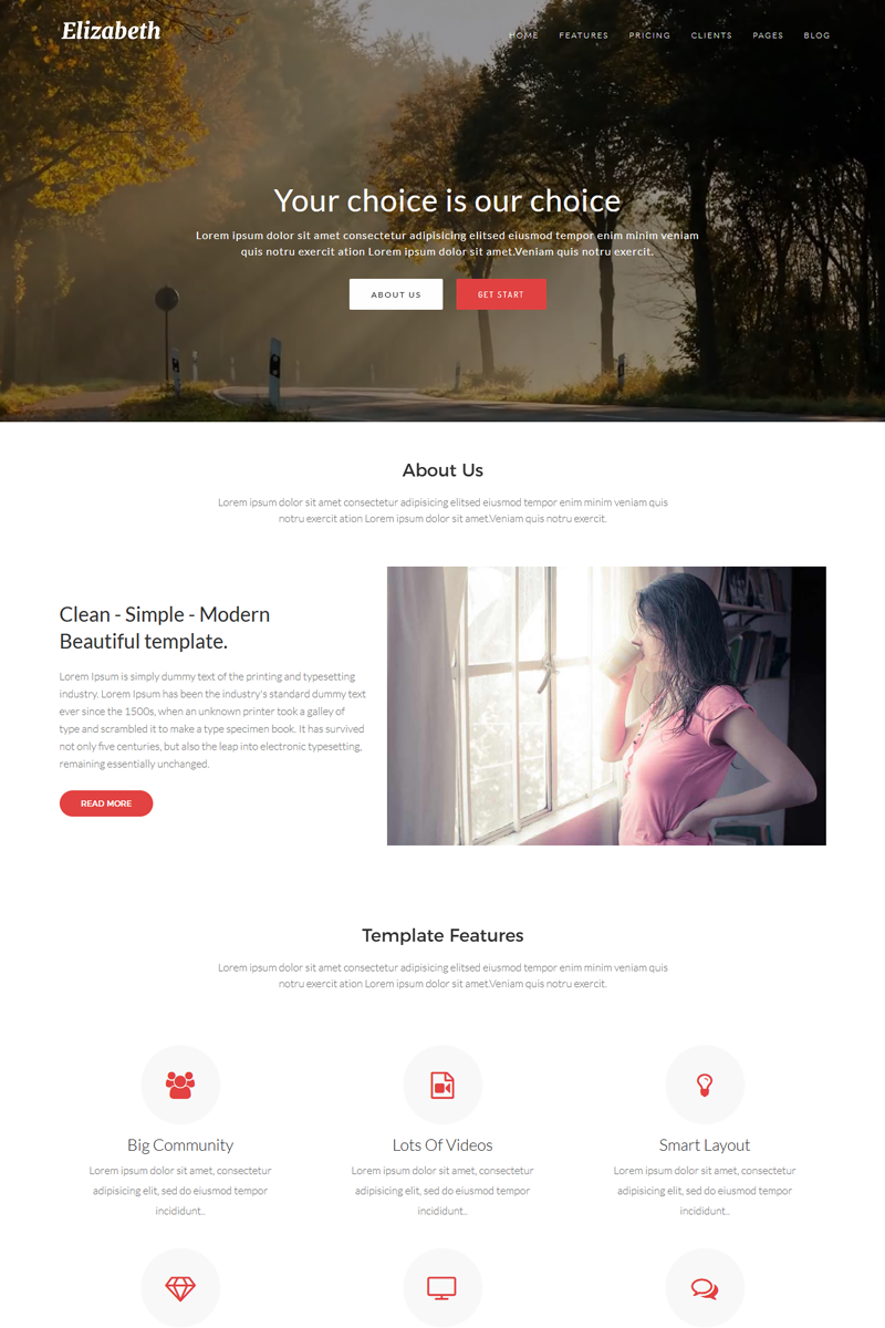 Elizabeth - One Page Corporate Joomla Template - screenshot