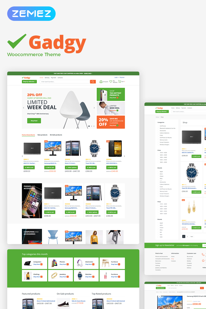 """Gadgy - Wholesale Store"" Responsive WooCommerce Thema №78881"