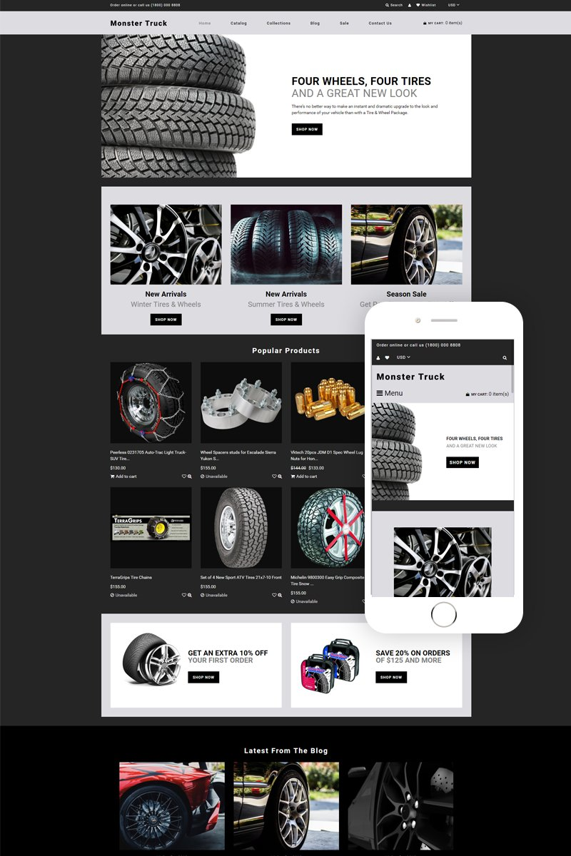 """""""Monster Truck - Auto Parts Clean"""" Responsive Shopify Thema №78811"""