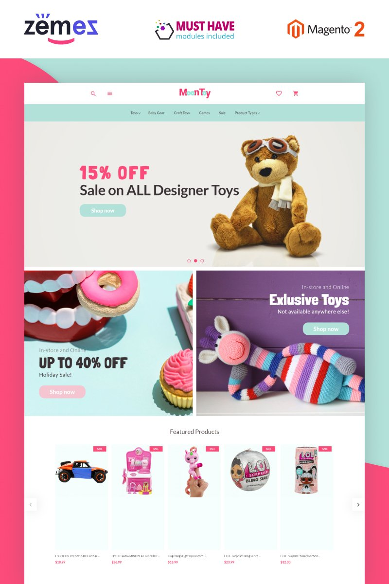 """""""MoonToy - Toys Store Template"""" Magento Thema №78896"""