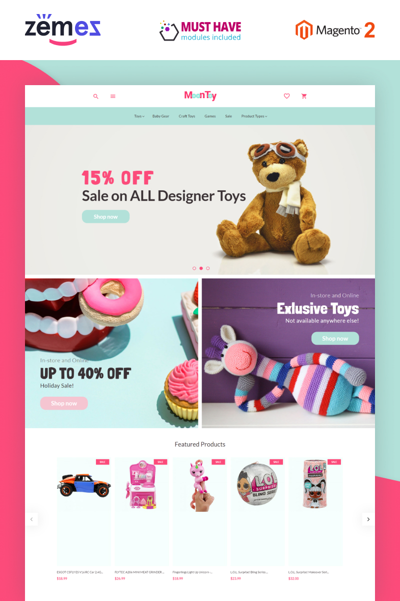"""""""MoonToy - Toys Store Template"""" thème Magento  #78896"""