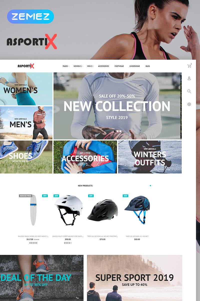 "PrestaShop Theme namens ""Asportix - Sport Equipment Store Clean Bootstrap Ecommerce"" #78836 - Screenshot"