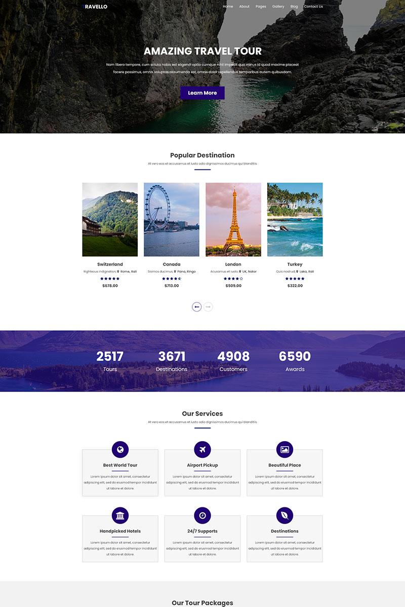 "PSD Vorlage namens ""Travello  |  Amazing Travel and Tours"" #78865"