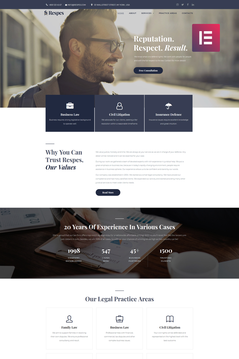 """Respes - Lawyer"" Responsive WordPress thema №78872"