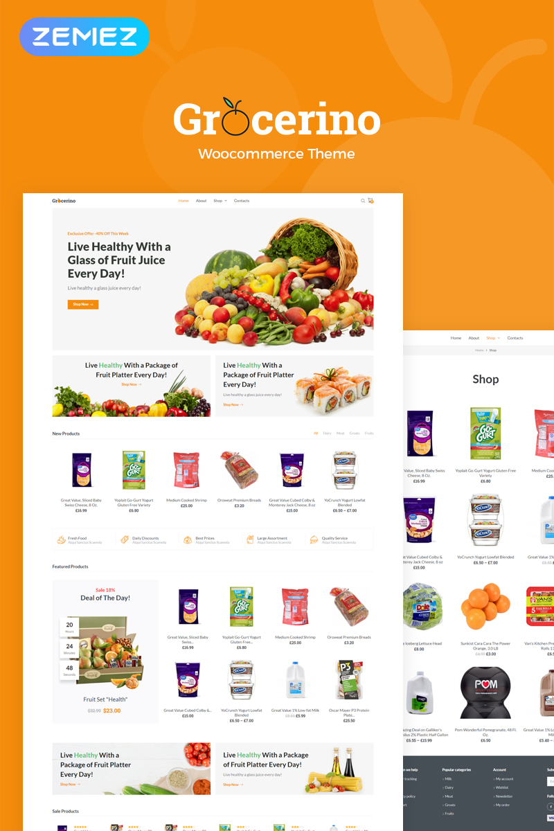 Responsivt Grocerino - Grocery Store WooCommerce-tema #78882