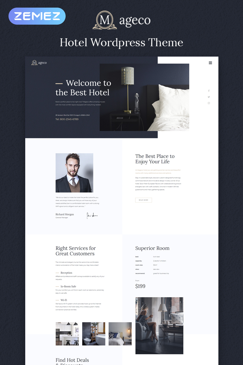 Responsivt Mageco - Hotel Multipurpose Minimal Elementor WordPress-tema #78833
