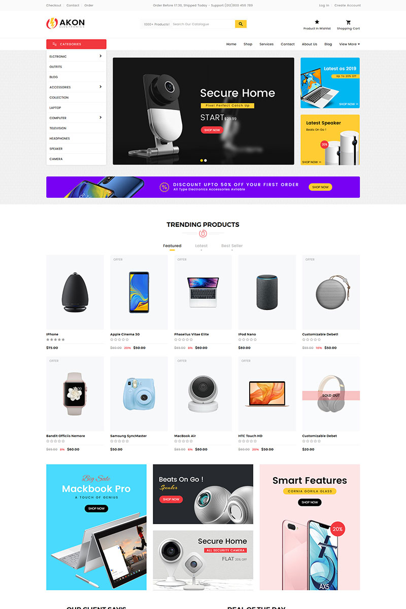 Responsywny szablon Shopify Akon Electronics #78828