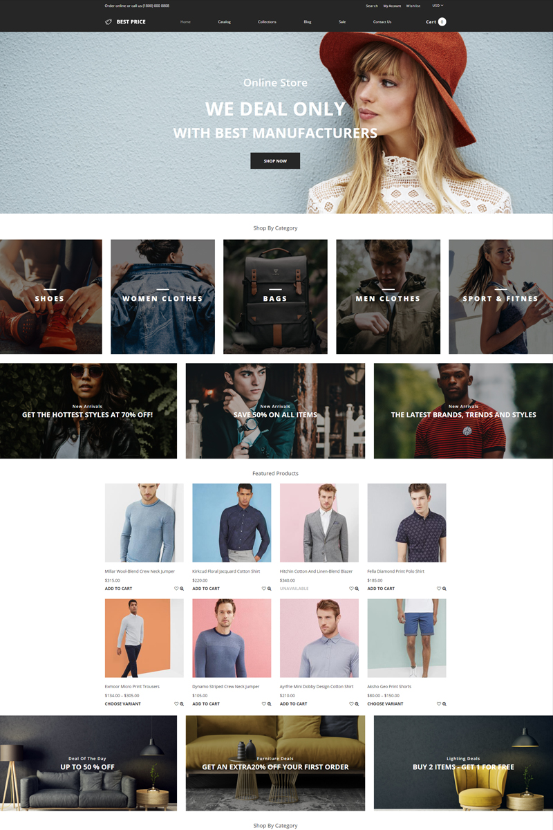 """Tema Shopify """"Best Price - Wholesale Store Multipage Creative"""" #78871"""