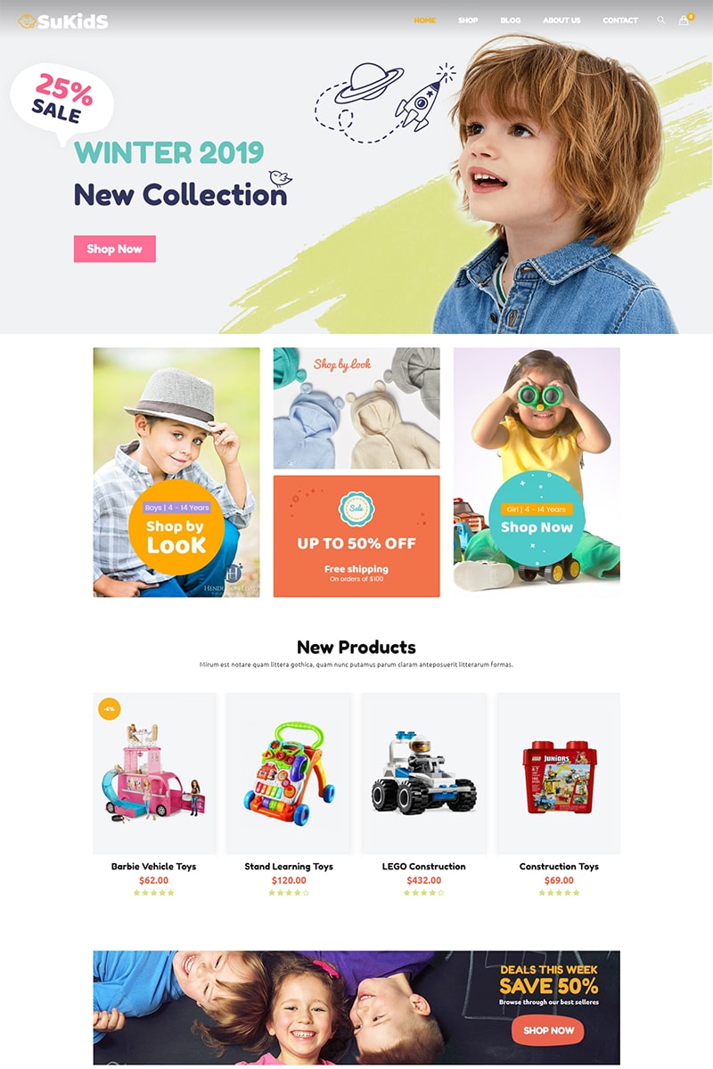 "Tema WooCommerce ""Sukids -  Baby Shop & Kids Store WordPress WooCommerce Theme."" #78875"