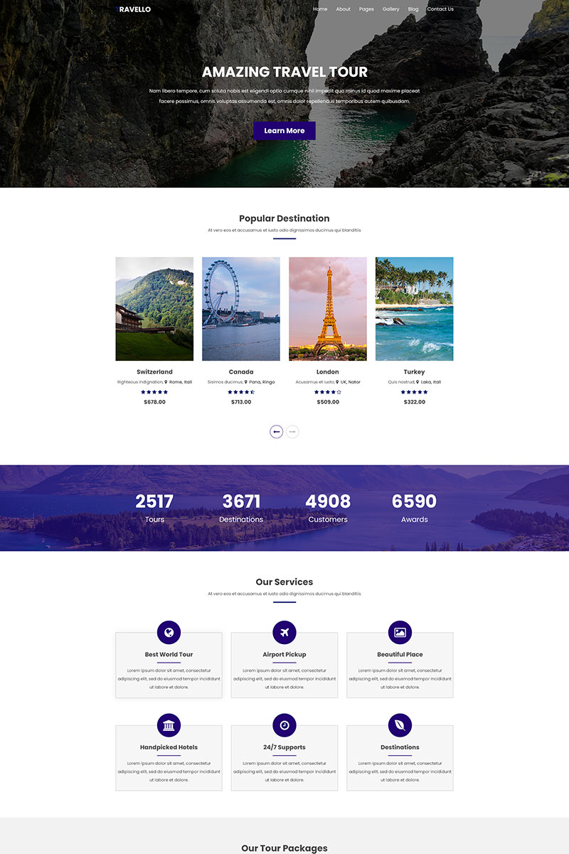 """""""Travello     Amazing Travel and Tours"""" Responsive PSD Template №78865"""