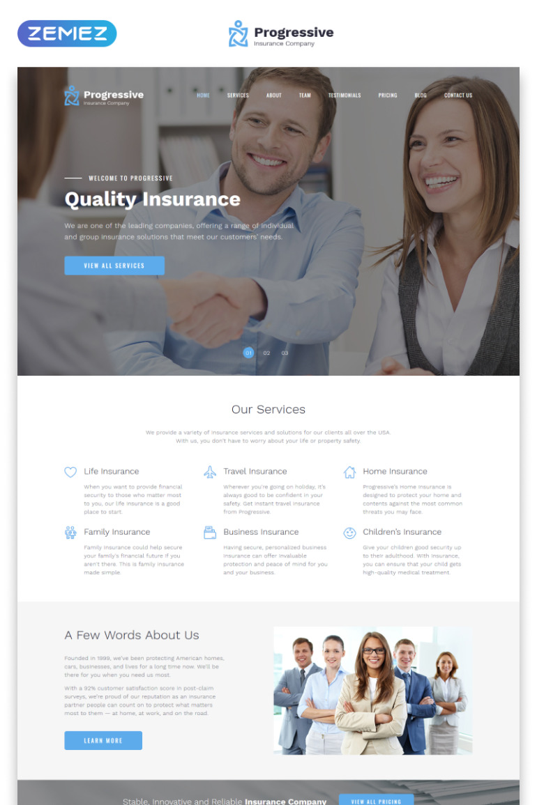 Progressive - Insurance Clean HTML Bootstrap4 Landing Page Template