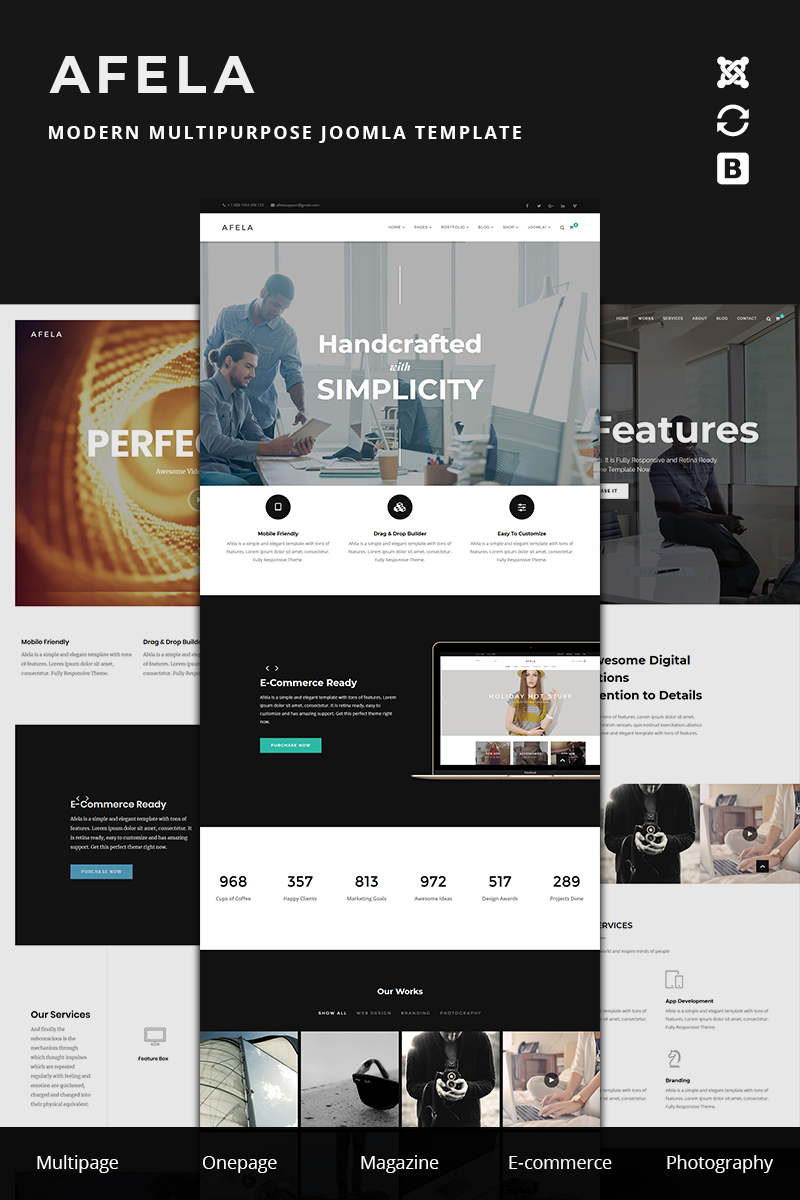 """""""Afela   Flexible Multi-Purpose Business  With Page Builder  """" Responsive Joomla Template №78928"""