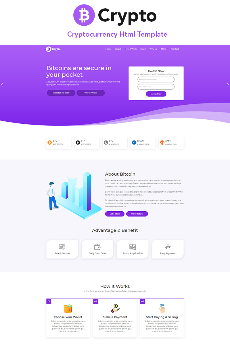 B-Crypto Cryptocurrency Landing Page Template