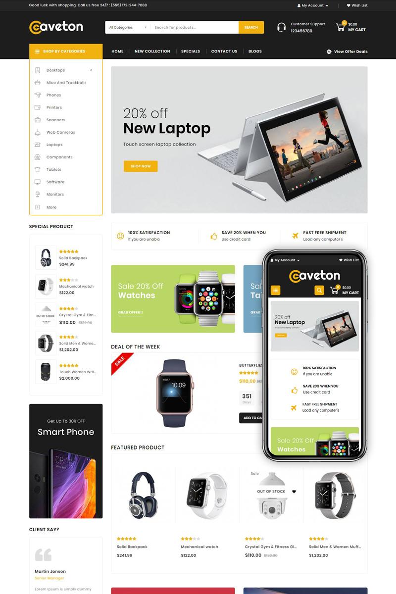 """""""Caveton - Mega Store"""" - адаптивний OpenCart шаблон №78970"""
