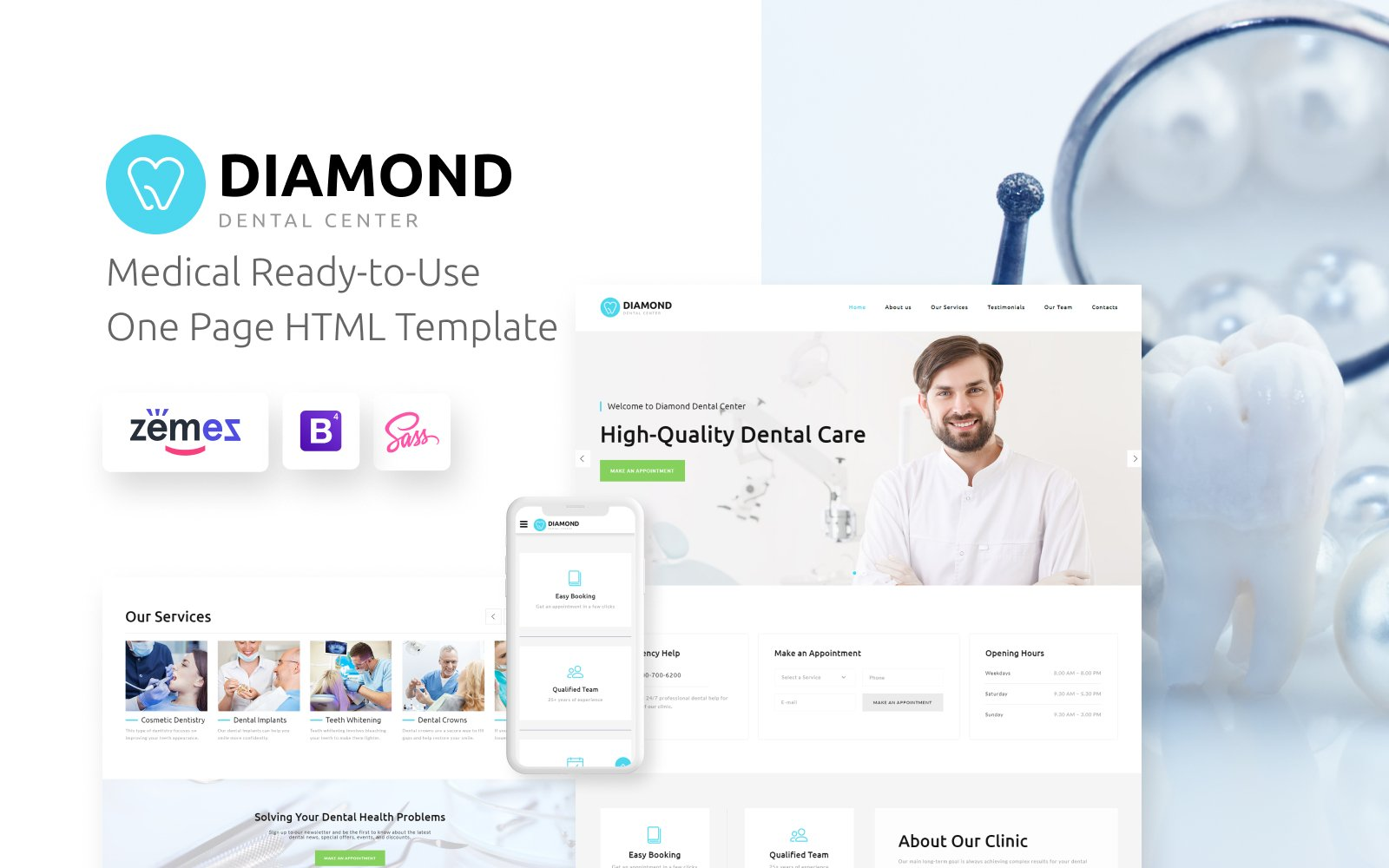 Diamond - Dentistry Clean HTML Bootstrap4 №78945