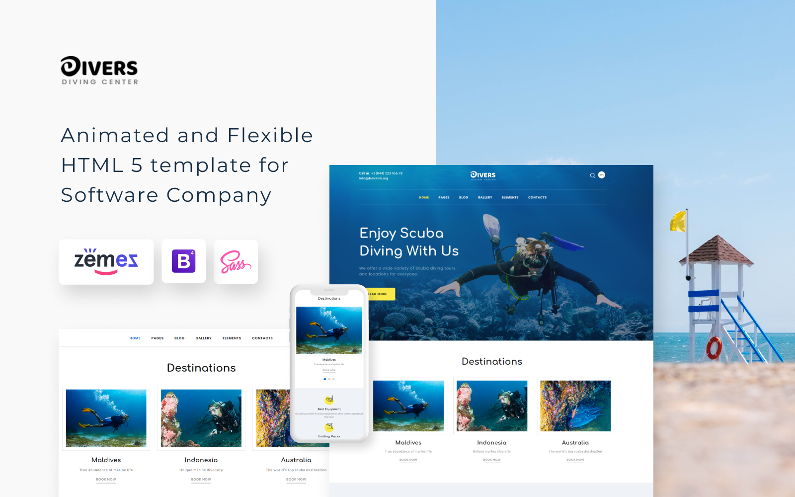 Divers - Swimming Multipage Classic HTML Website Template