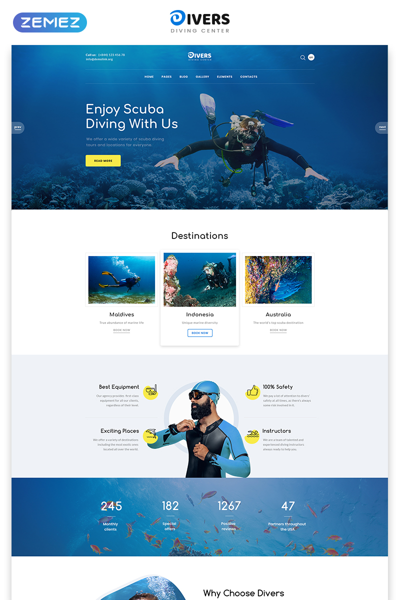 """Divers - Swimming Multipage Classic HTML"" 响应式网页模板 #78979"
