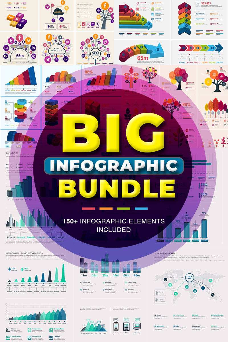 Elementy infografiki Infographic Bundle | 900+ Vector #78923