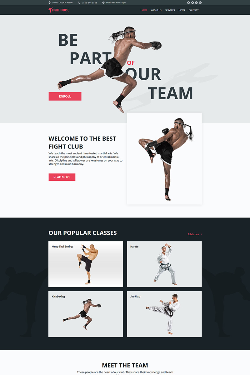"""""""Fight House - Martial Arts Club"""" Moto CMS HTML Template №78906"""