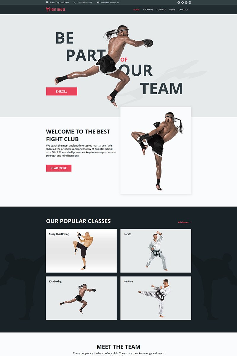Fight House - Martial Arts Club Moto CMS HTML Template