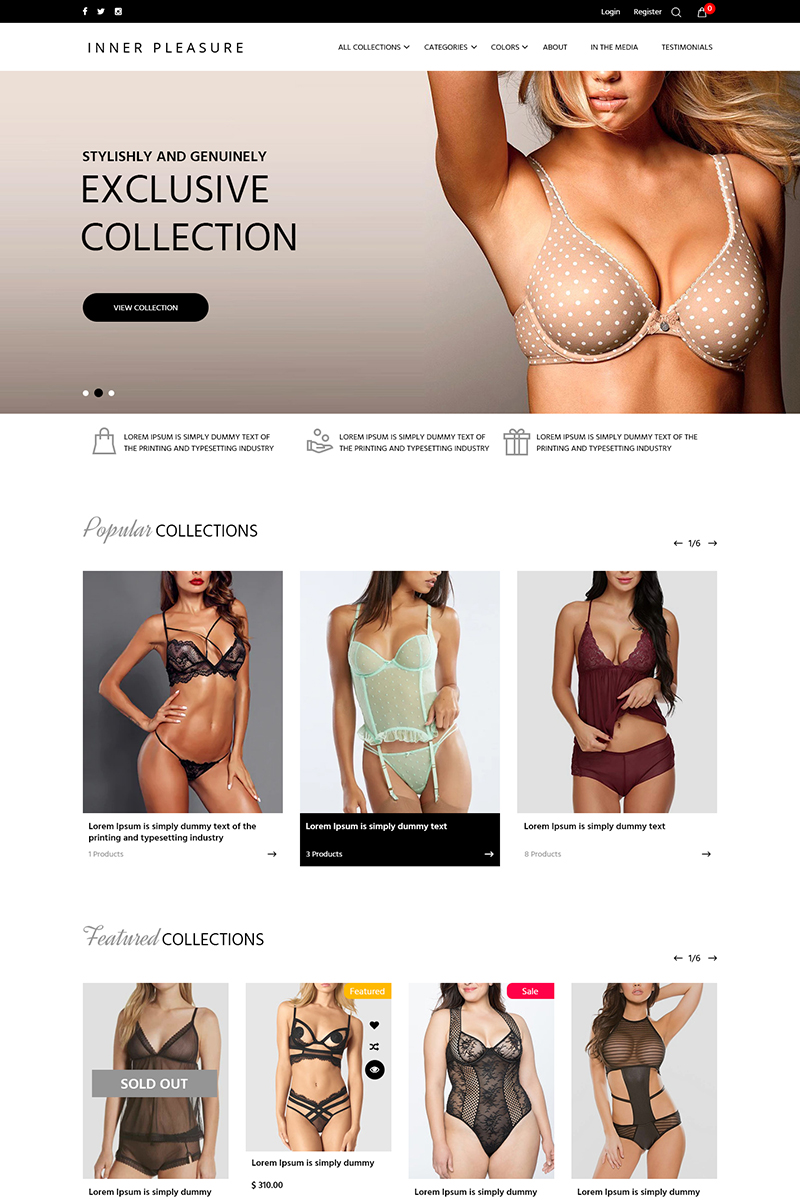 """""""Inner Pleasure - Lingerie Store"""" PSD Template №78987"""