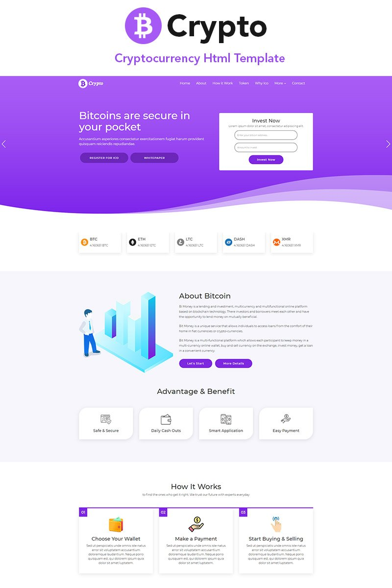"""Landing Page Template namens """"B-Crypto Cryptocurrency"""" #78977"""