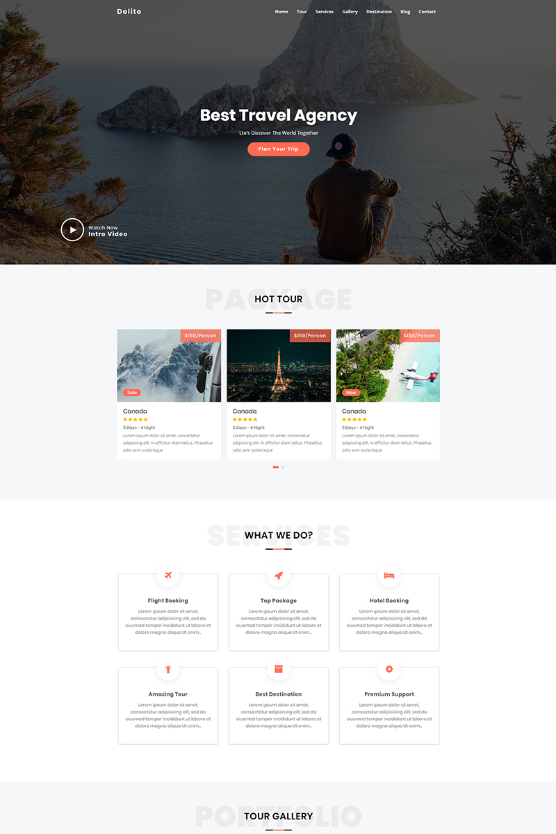 """Landing Page Template namens """"Delite - Travel Agency"""" #78957"""