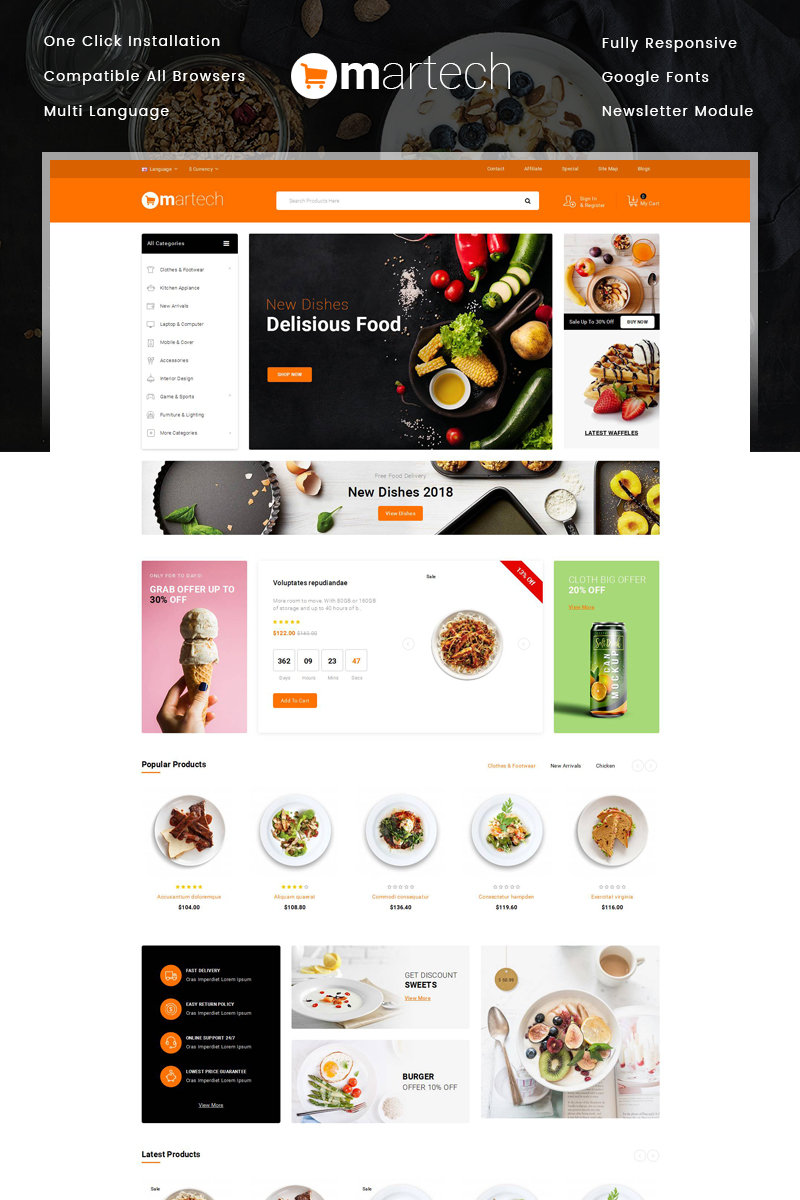 """Martech Food Store"" Responsive OpenCart Template №78996"