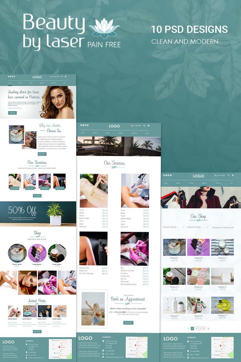 "PSD Vorlage namens ""Beauty By Laser - Clean Beauty PSD Template"" #78907 - Screenshot"