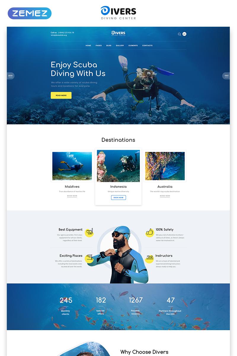 """Responzivní Šablona webových stránek """"Divers - Swimming Multipage Classic HTML"""" #78979"""