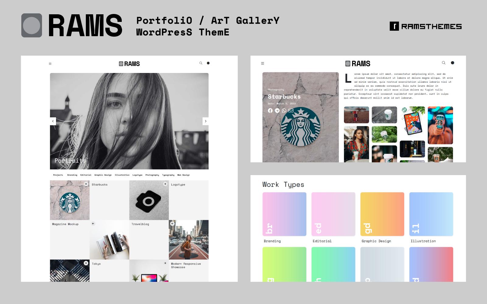 Reszponzív RAMS - Portfolio Art Gallery Bootstrap WordPress Theme WordPress sablon 78999