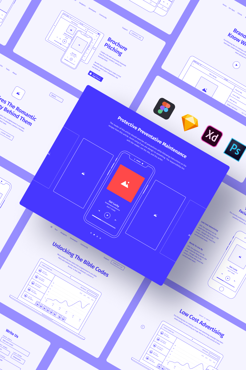 "Sketch šablona ""Method Wireframe Kit 2"" #78960 - screenshot"
