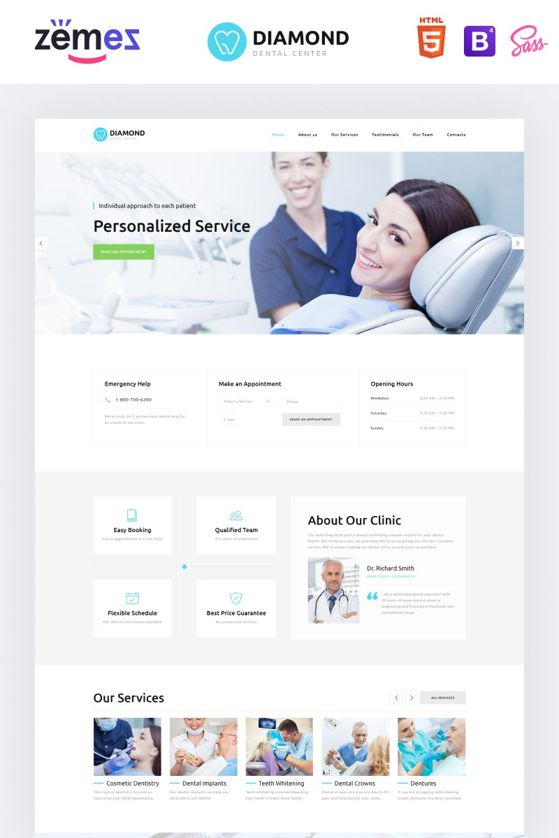 "Tema di Landing Page Responsive #78945 ""Diamond - Dentistry Clean HTML Bootstrap4"""