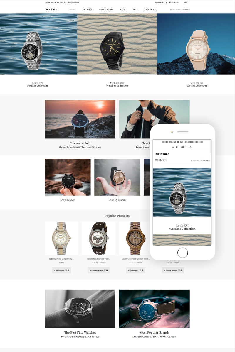 "Tema Shopify ""New Time - Watches Clean"" #78909"