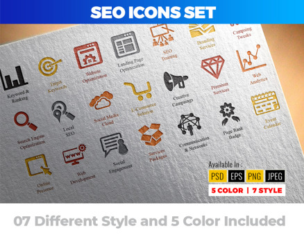 SEO (Search Engine Optimization) Icon Set