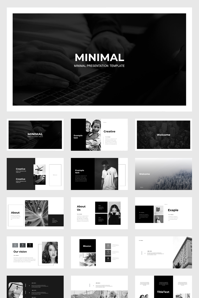 black  u0026 white presentation powerpoint template  79010