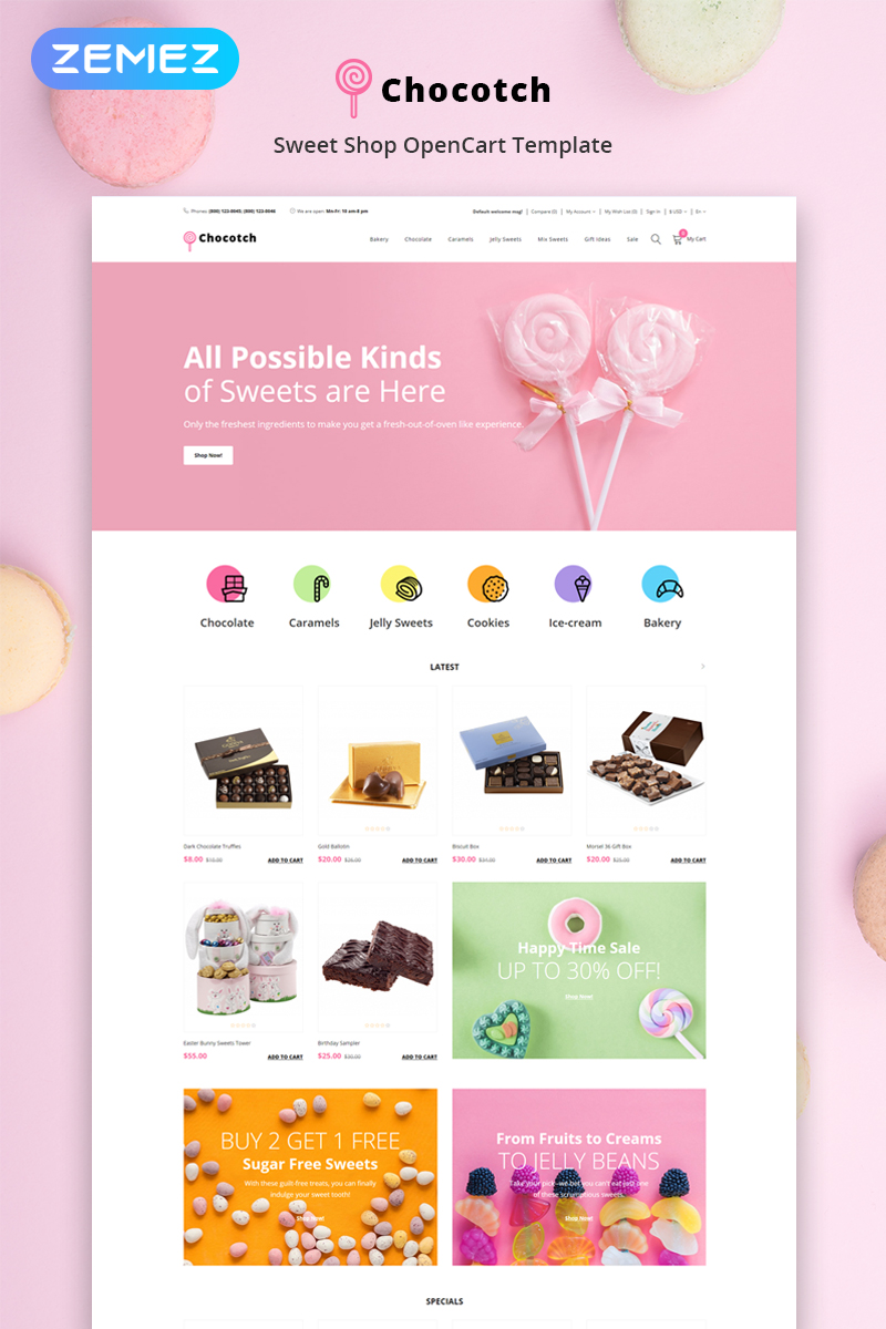 """Chocotch - Sweet Shop E-commerce Creative"" Responsive OpenCart Template №79033"