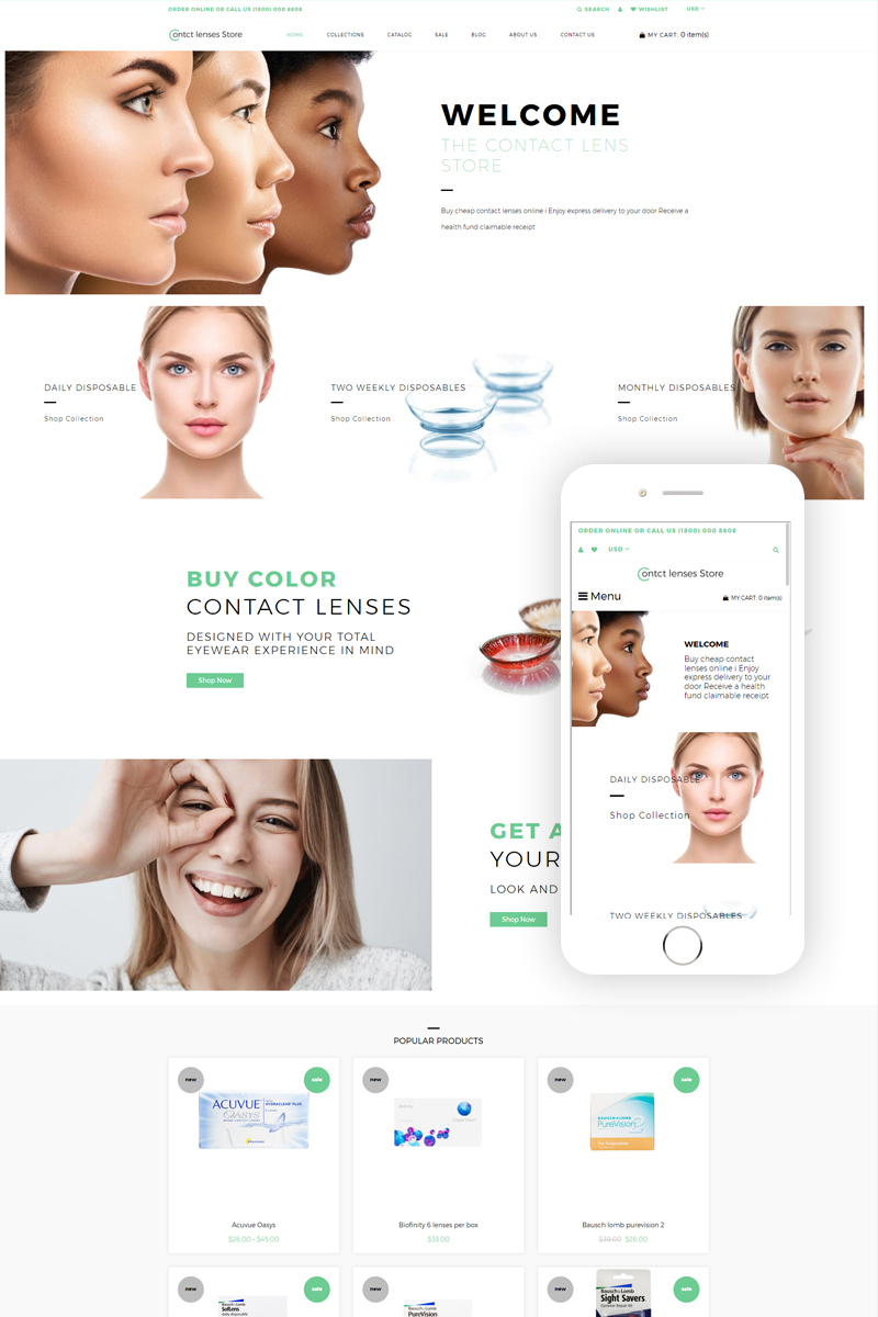 """Contact Lenses Store - Optometrist's Clean"" 响应式Shopify模板 #79097"