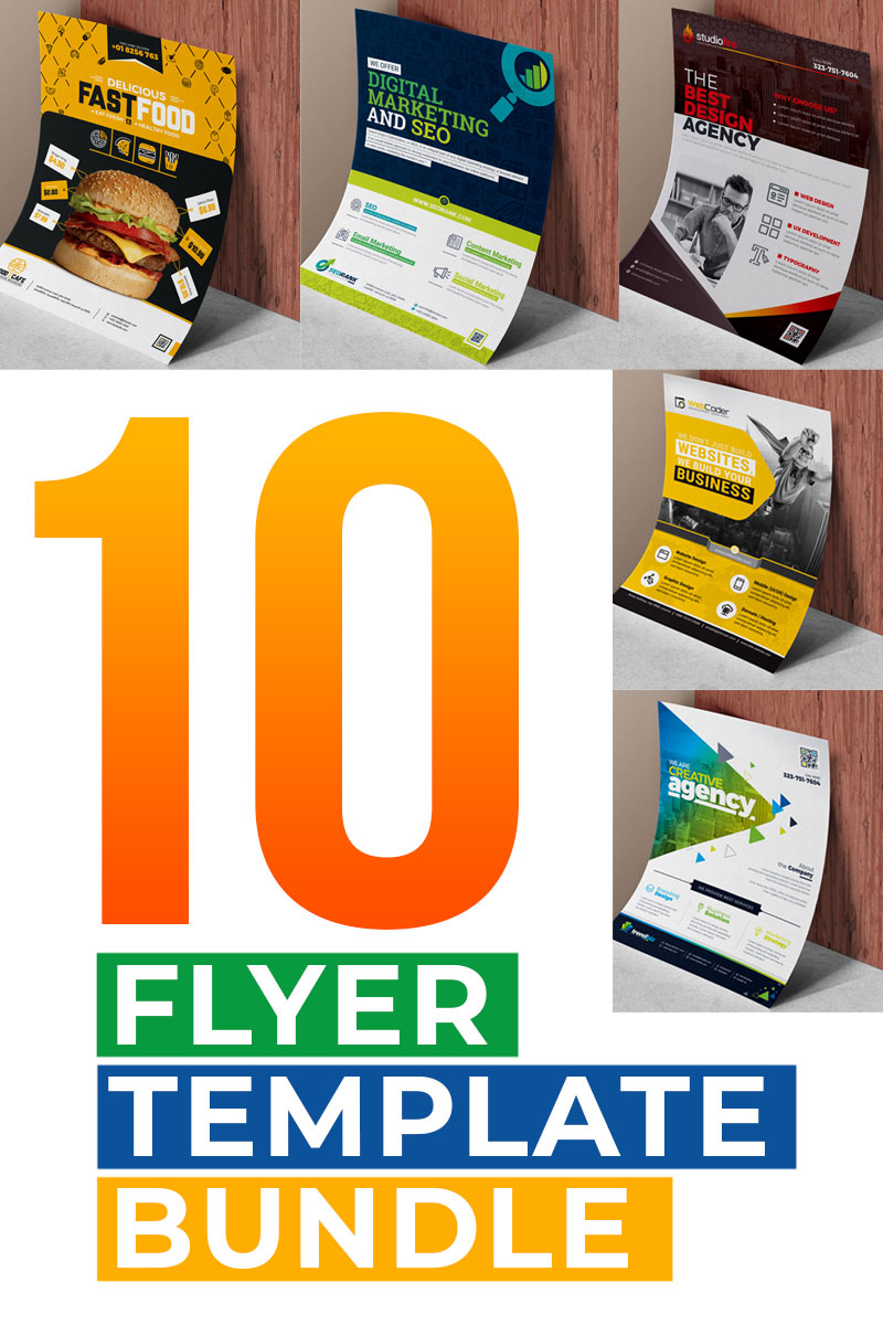 """Flyer Template Bundle | 10 Flyer Design"" - Шаблон фірмового стилю №79030"